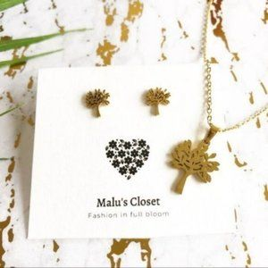 Jewelry - NEW Tree of Life Studs & Necklace Set Stainless